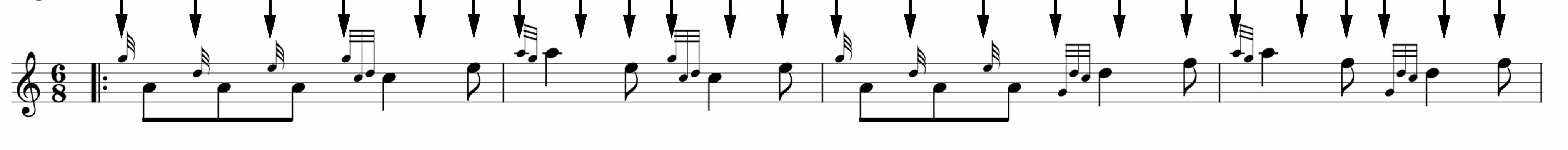 In triple time, each eighth note gets a click of the metronome.