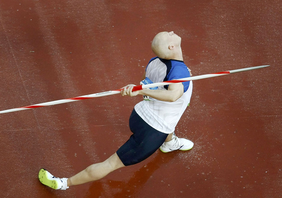 Teemu Wirkkala of Finland competes in men's javelin throw qualifying event at the Beijing 2008 Olympic Games